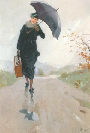 Junge Frau mit Regenschirm und Koffer ⋅ um 1920 Image