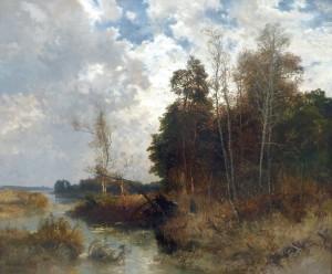 Herbstlandschaft mit Jägern ⋅ um 1880 Image