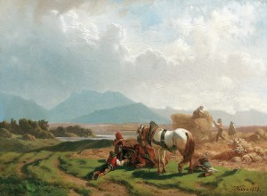 Getreideernte am Chiemsee ⋅ 1858 Image