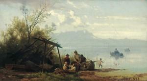 Fischerfamilie am Starnberger See ⋅ 1868 Image