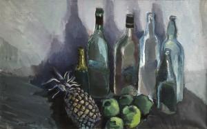Altes Flaschenstillleben mit Früchten ⋅ 1982 Image