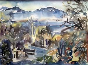 Bucht am Chiemsee mit Kampenwand Image