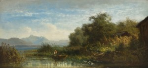 Fischer am Ufer der Fraueninsel mit Blick zum Hochgern ⋅ um 1865 Image