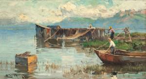 Chiemseefischer, Netze zum Trocknen aufhängend ⋅ 1917 Image