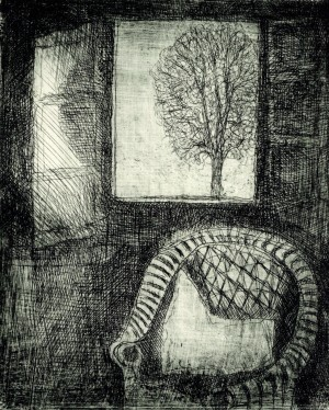 Korbstuhl am Fenster ⋅ 1990 Image