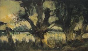 Alte Weiden am Seeufer im Abendlicht ⋅ um 1935/40 Image