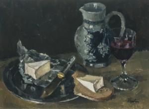 Stillleben mit Käse und Rotwein ⋅ um 1975 Image