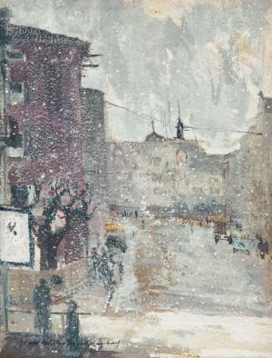 Max-Josefs-Platz in Rosenheim im Schneetreiben ⋅ um 1940 Image