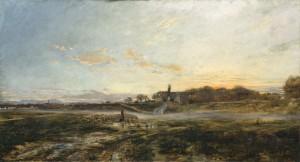 Die Theresienwiese mit der Bavaria in Abendstimmung ⋅ 1882 Image