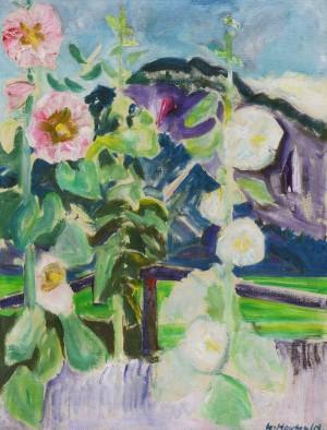 Malven vor violettem Berg ⋅ 1956 Image