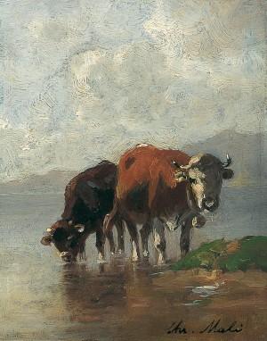 Kühe am See ⋅ um 1880 Image