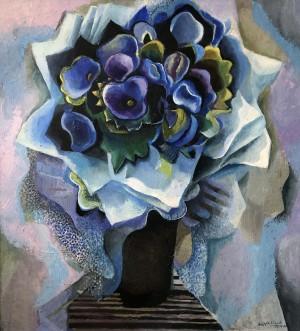 Blaues Blumenbild ⋅ 1980 Image