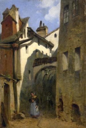 Gasse in Burghausen ⋅ um 1885 Image