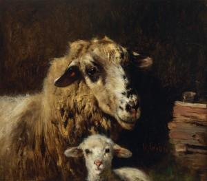 Mutterschaf mit Lamm ⋅ um 1885 Image