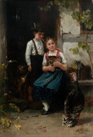 Geschwisterpaar mit Truthahn ⋅ um 1882 Image
