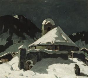 Winternacht im Bergdorf ⋅ 1925 Image
