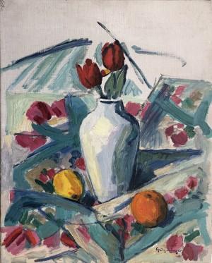 Tischstillleben mit Tulpen Image