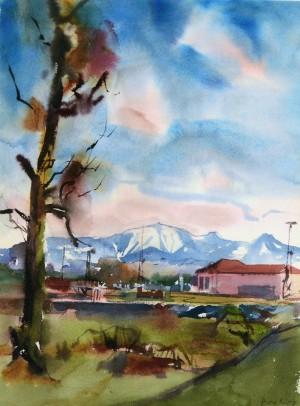 Rosenheimer Landschaft mit Hochries ⋅ 1982 Image