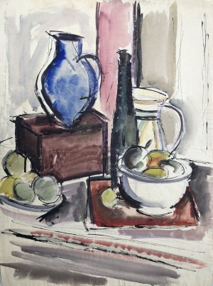 Stillleben mit Krug und Früchten auf dem Tisch Image