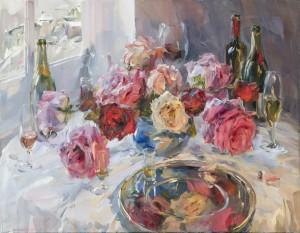 Stillleben am Fenster mit roten Rosen ⋅ 2005 Image
