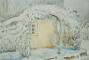 Urfarhn - Verschneiter Rosenbogen am Lex´nhaus ⋅ nach 1950 Image