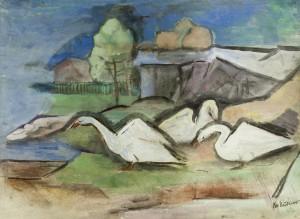 Schwäne am Ufer ⋅ um 1960 Image
