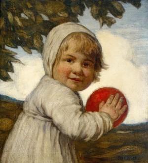 Mädchen mit rotem Ball ⋅ um 1905 Image
