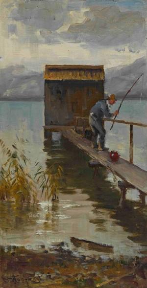 Angler am Steg ⋅ um 1910 Image