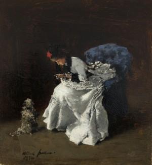 Dame in feiner Garderobe mit Hund ⋅ 1874 Image