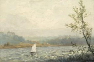 Stürmische Segelpartie am Simssee ⋅ 1919 Image