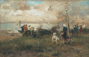 Fischer beim Reparieren der Boote am Ufer ⋅ um 1889 Image