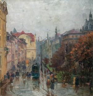 Promenadeplatz in München im Regen ⋅ 1920 Image