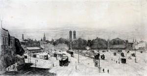 Blick auf die Bahnhofshallen in München ⋅ 1883 Image