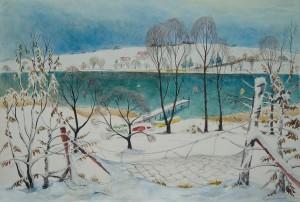 Winterlicher Garten an der Mühlner Bucht ⋅ nach 1950 Image