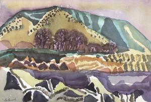 Berg hinter roten Bäumen ⋅ 1985 Image