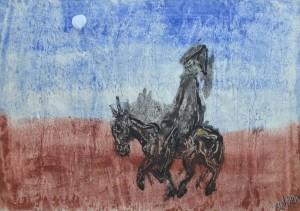 Einsamer Reiter Ausdrucksvolle Bildsprache von unverwechselbarer Eigenart<br>Sein figuratives Spätwerk zählt zum Expressiven Realismus um 1955/60 Image