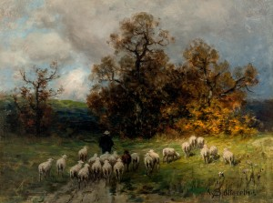 Schäfer mit seiner Herde am Abend ⋅ um 1880 Image
