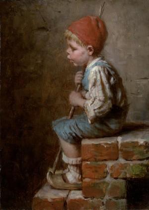 Sitzender Bub, pfeifend ⋅ um 1880 Image