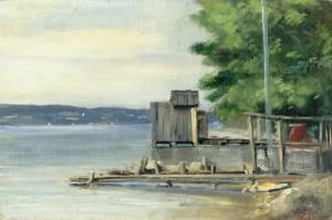 Badehütte am Starnberger See bei Ambach ⋅ um 1880 Image