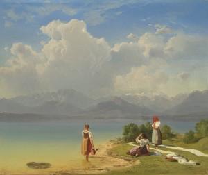 Junge Fischermädchen beim Wäschebleichen am Chiemsee ⋅ um 1845/50 Image