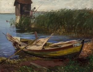 Uferpartie auf der Fraueninsel mit Anglerin ⋅ um 1900 Image