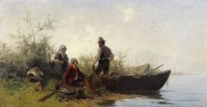 Fischerfamilie am Ufer des Chiemsees ⋅ 1876 Image