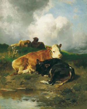Ruhende Kälber und Schafe ⋅ 1880 Image