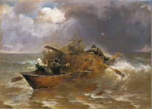 Heuboot im Sturm ⋅ um 1890 Image