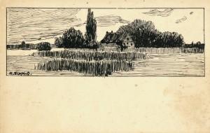 Postkarte mit Federzeichnung an die Eltern ⋅ 1910 Image