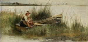 Mutter mit Kind im Kahn am Ufer des Chiemsees ⋅ 1898 Image
