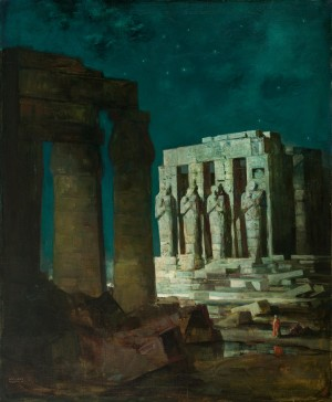 Vergangenheit (Karnak-Tempel in Luxor bei Nacht) ⋅ um 1925 Image
