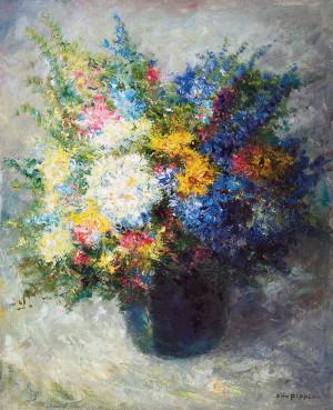 Stillleben mit Sommerblumen in Glasvase ⋅ um 1940 Image