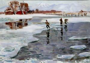 Eisflößer am Chiemsee ⋅ um 1940 Image