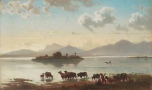 Hirte mit Vieh am Ufer des Chiemsees ⋅ 1867 Image